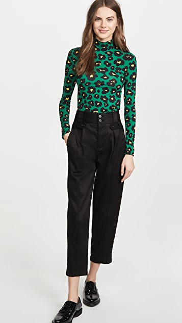 La Double J Floral Leopard Turtleneck