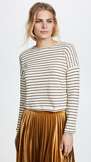 The Lady & The Sailor Metallic Stripe Cropped Sweater