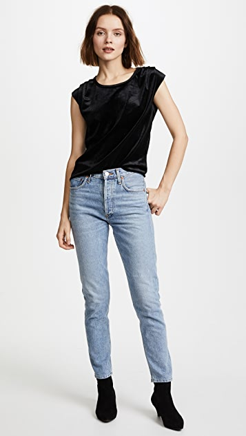 The Lady & The Sailor Velour Pleat Shoulder Tee
