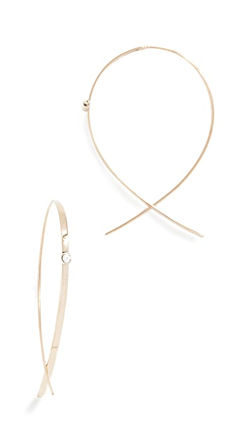LANA JEWELRY 14k Small Flat Upside Down Hoops with Diamonds
