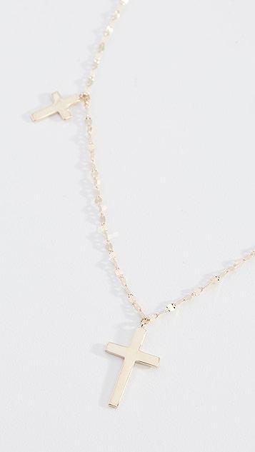 LANA JEWELRY Колье Triple Cross из 14-каратного золота