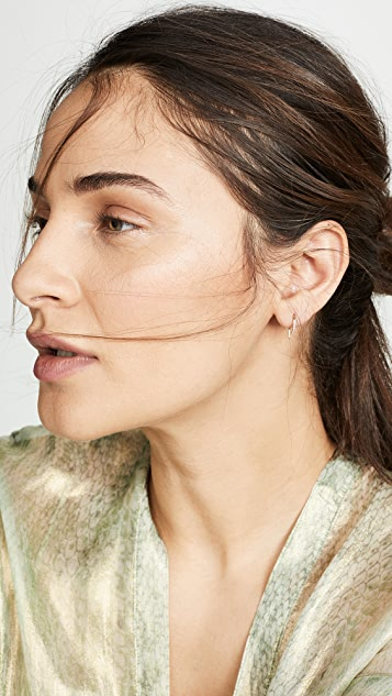 LANA JEWELRY Diamond Hooked On Hoop Earrings
