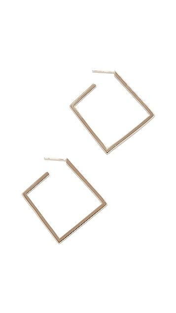 LANA JEWELRY Квадратные плоские серьги-кольца из 14-каратного золота