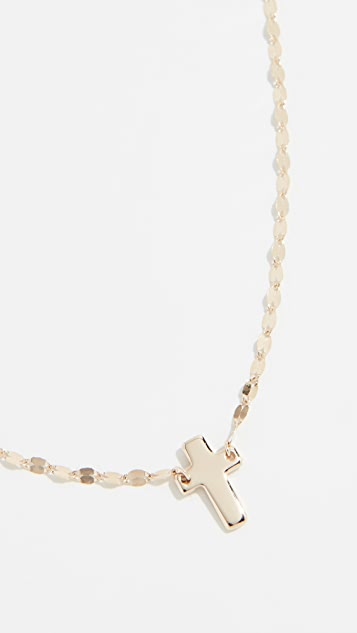 LANA JEWELRY 14k Mini Cross On Blake Chain Necklace