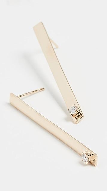LANA JEWELRY Short Solo Diamond Bar Earrings 14k