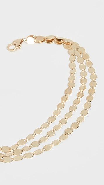 LANA JEWELRY Многорядный браслет из цепочек телесного цвета из 14-каратного золота