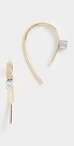 LANA JEWELRY - 迷你钩扣钻石圈式耳环 15 毫米