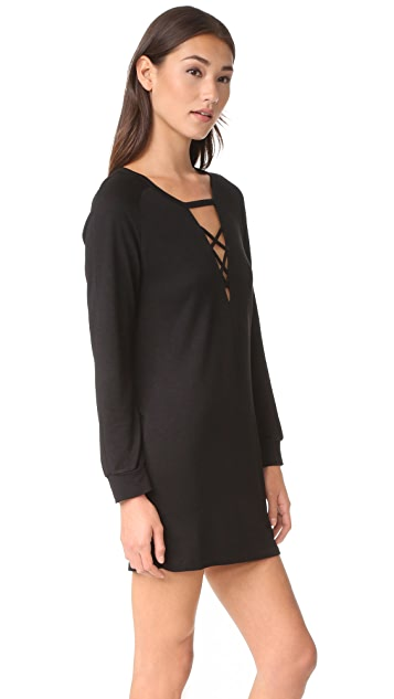 Lanston Lace Up Sweatshirt Dress