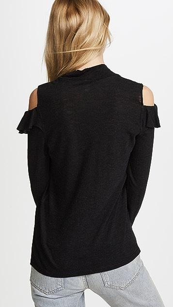 Lanston Ruffle Cold Shoulder Pullover