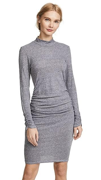 Lanston Ruched Mock Neck Dress