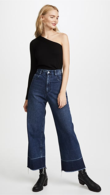 Lanston Ribbed One Shoulder Top