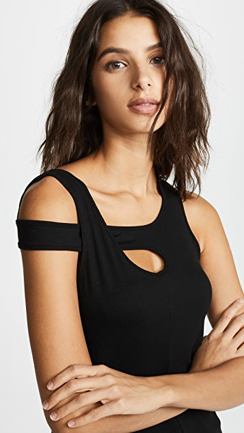 Lanston Asymmetrical RIbbed Tank - Black