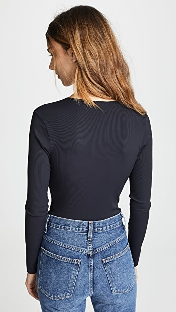 Lanston Ribbed Wrap Bodysuit