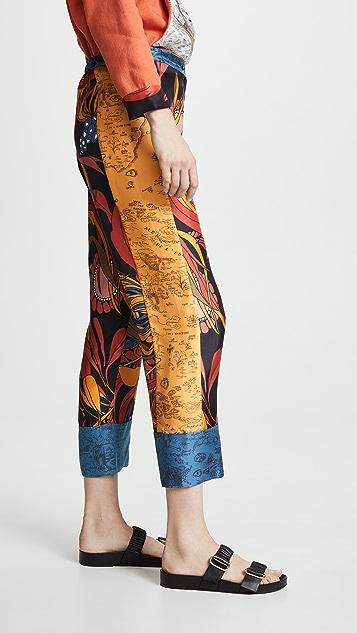 La Prestic Ouiston 地中海蓝混合印花长裤