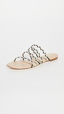 Larroude Ibiza Flat Woven Sandals