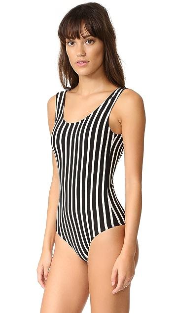 LAVEER Striped Scoop Tank Bodysuit