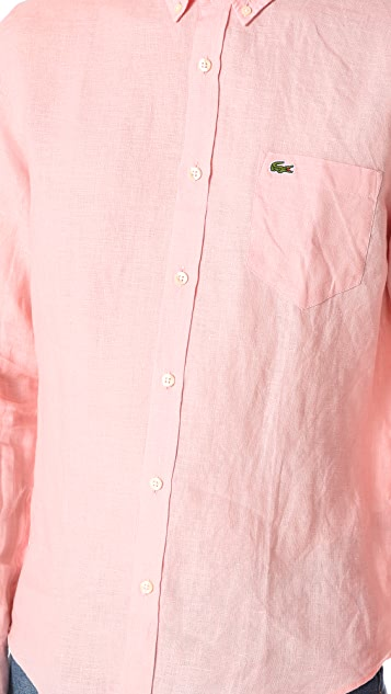 Lacoste Button Down Linen Shirt