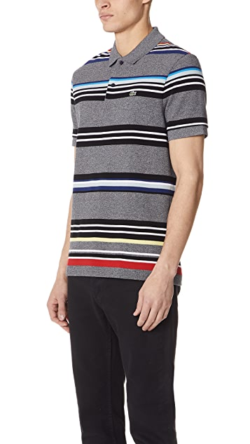 Lacoste Short Sleeve Mouline Striped Pique Polo Shirt