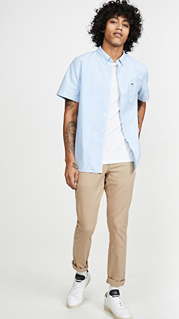Lacoste Short Sleeve Button-Down Oxford Shirt