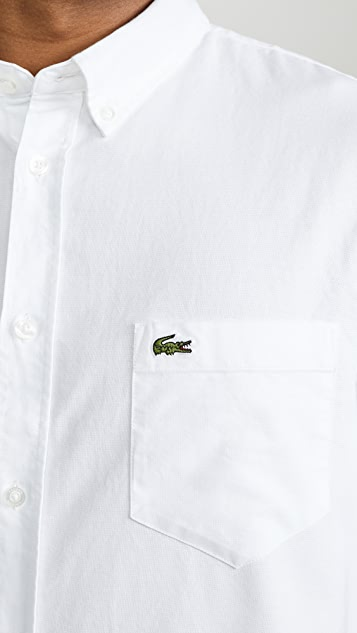 Lacoste Short Sleeve Button Down Oxford Shirt