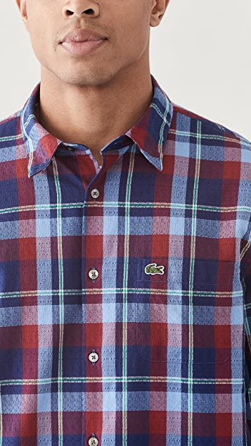 Lacoste Checked Tile Print Button Down