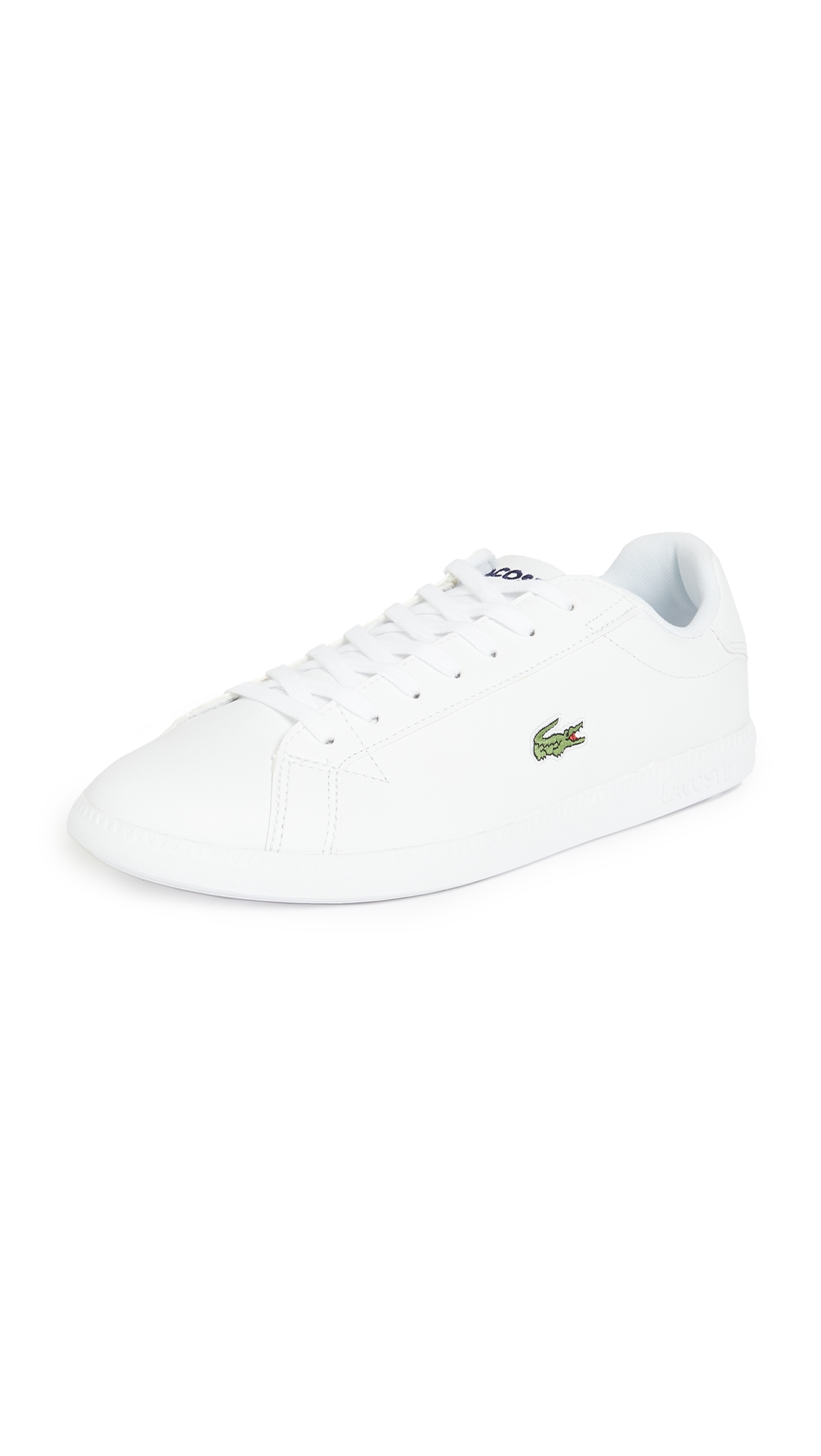 Lacoste Graduate Sneakers White With Gold Croc In White/white