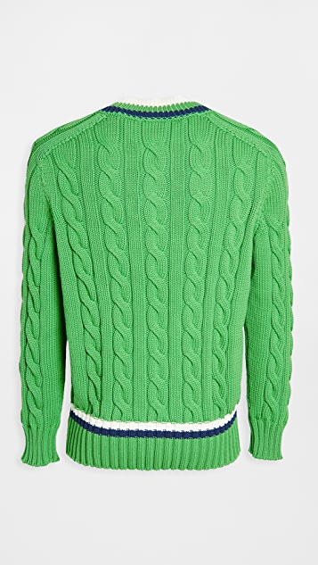 Lacoste V Neck Striped Cable Knit Sweater