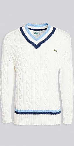 Lacoste - V Neck Striped Cable Knit Sweater