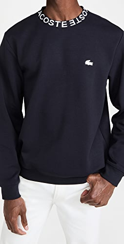 Lacoste - Crew Neck With Logo Print Collar