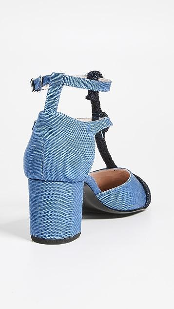 Leandra Medine Туфли на каблуках средней высоты с веревочной отделкой и Т-образным ремешком