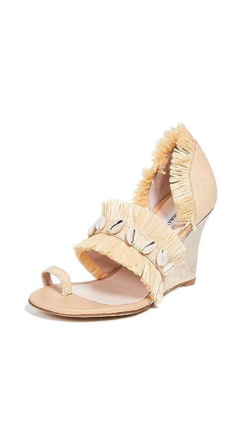 Leandra Medine Raffia Fringe Wedge Sandals