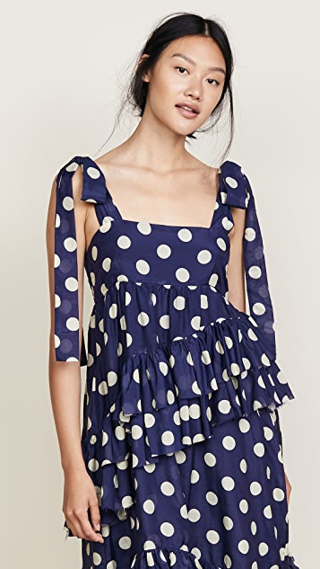 Lee Mathews Minnie Spot Apron Dress