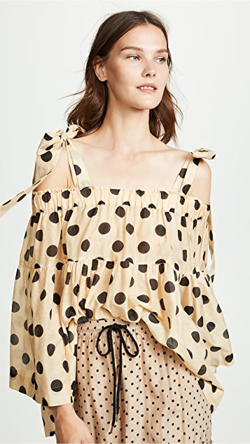 Minnie Spot Silk Blouse by Lee Mathews