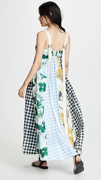 Lee Mathews Bridget Mixed Print Apron Dress