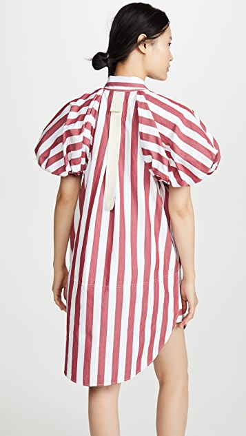 Lee Mathews Simone Stripe Puff Sleeve Dress
