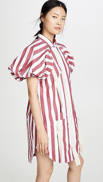 Lee Mathews Simone 条纹泡泡袖连衣裙