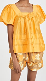 Lee Mathews Canary Tucked Puff Top