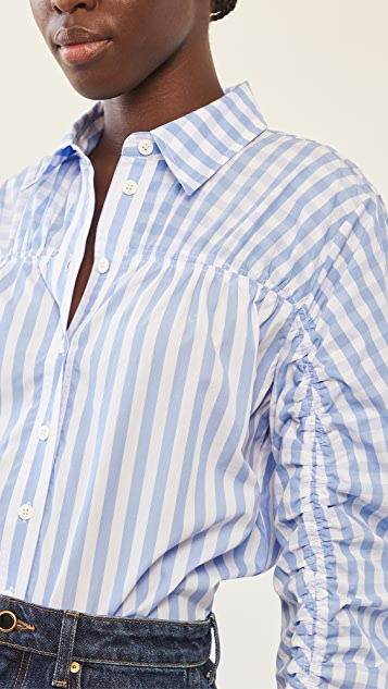 Lee Mathews Stevie Gathered Stripe Shirt