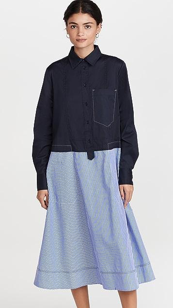 Lee Mathews Yale Spliced Shirtdress