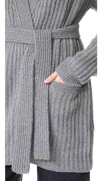 Le Kasha Ribbed Tie Waist Cashmere Cardigan