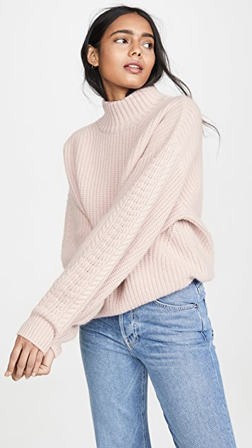 Rennes Oversized Cable Knit Cashmere Sweater by Le Kasha