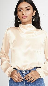 Long Sleeve Blouse Neck Detail