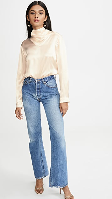Le Kasha Long Sleeve Blouse Neck Detail
