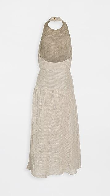 Le Kasha Dairut Linen Gauze Halter Maxi Dress