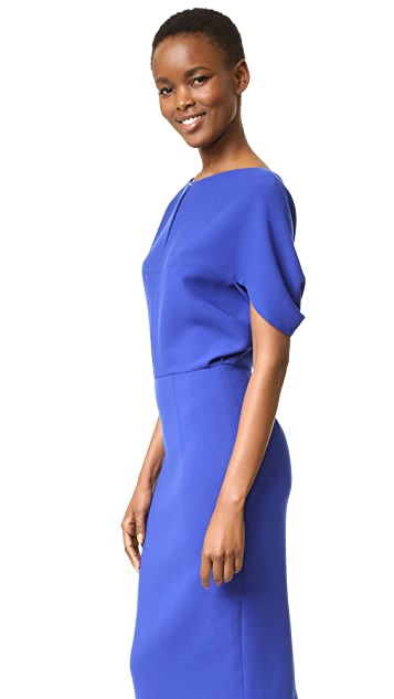 Lela Rose Cape Sleeve Fitted Dress