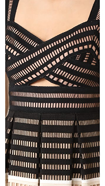 Lela Rose Fitted Bodice Tucked Dress