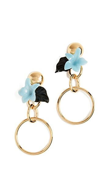 Lele Sadoughi Hibiscus Hoop Earrings