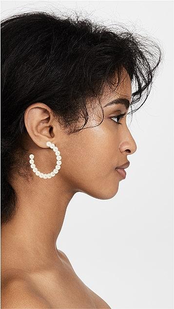 Lele Sadoughi Imitation Pearl Hoop Earrings