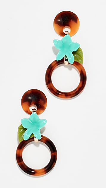Lele Sadoughi Small Hibiscus Hoop Earrings