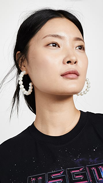 Lele Sadoughi 旭日形人造珍珠圈式耳环